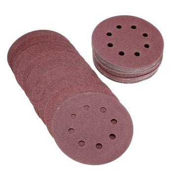 "Hot Sale 50pcs set 5"" 8 Hole 80 120 180 240 320 Grit Sanding Disc Random Orbit Hook & Loop Sander Sand Paper Discs Grit Sand"