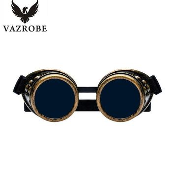 Vazrobe Steampunk Goggles for Adult Kids Boys Girls Gothic Glasses Decorative Vintage Punk Hippie Sunglasses Party Celebrity