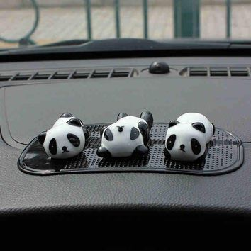 3pcs Cartoon Car Ornaments Creative Ceramic Panda Car Decoration Automobile Lovely Doll Car Crafts Interior Decorations QP100