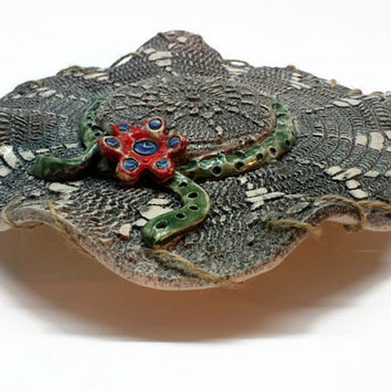Wall hanging Ceramic Lace Hat,  Raku unique clay artwork
