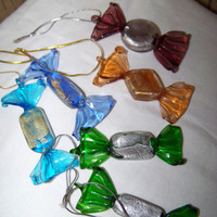 6 Glass Candy Drop Ornaments--Sun Catchers--Gift Tags--Craft Supply--Colorful Glass Ornies--Easter Candy--Wreath Supply--Scrapbooking