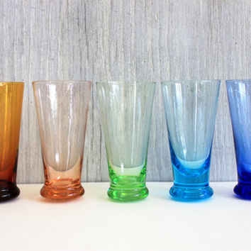 set of 5 vintage cordial / liqueur glasses // retro barware // tall shot glasses // blown glass