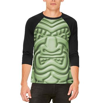 Tiki God Green Face Luau Mens Raglan T Shirt
