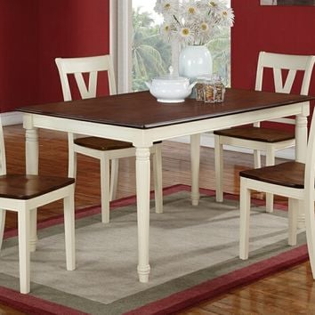 Poundex F2391-1351 5 pc erin iii cream finish wood legs and cherry finish wood tops dining table set