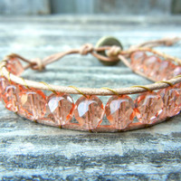 Beaded Leather Single Wrap Bracelet with Peach Coral Pink Czech Glass Beads on Natural Tan Leather