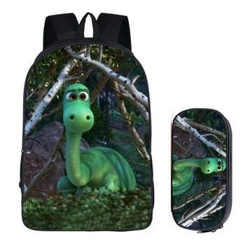 Anime Backpack School Japanese kawaii cute The Good Dinosaur 2PC Set with Pencil Case Student Backpacks DIY Printing Cool School Bags For Boys Book Bag New AT_60_4