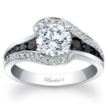 "Barkev's ""Swirl Halo"" Black Diamond Engagement Ring"