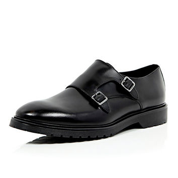 River Island MensBlack leather chunky sole monk strap shoes