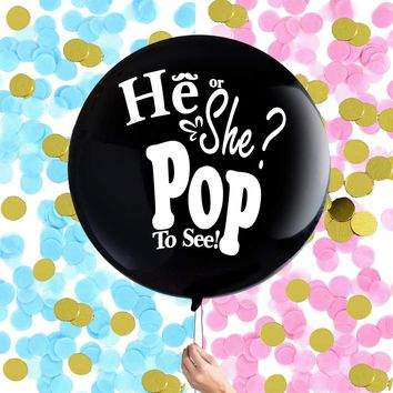 "36"" GENDER REVEAL Balloon-Gender Reveal Balloon with Pink or Blue Confetti, Baby Shower Balloon, Gender Reveal Party, Baby Shower Decoration"