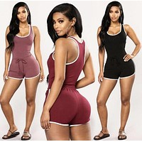 Ladies U Neck Playsuit Bodycon Romper