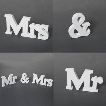 Mr&Mrs White Letters Standing Sign Wooden Wedding Party Table Centrepiece Decors