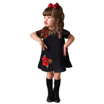 Kids girls dresses Toddler Kids Girl Rose Floral Dress Pageant Princess Party Dress Outfits Clothes drop shipping