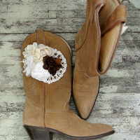 Rustic gypsy cowgirl boots, embellished cowboy boots, country chic, farmgirl, cowgirl, womens shoes, boots, fall wedding