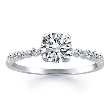 Diamond Engagement Ring Shared Prong Accents (3/4 ct tw) in 14k White Gold