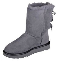 UGG W Bailey Bow II METALLIC GREY BOAT Winter Boots Shoes 1019034