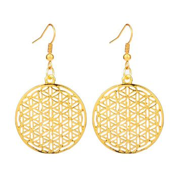 HANCHANG 2017 New Style Vintage Jewelry Flower of Life Drop Earrings for Lady Jewelry Gift