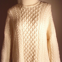 HOLIDAY CYBER SALE Vintage 80s 90s Off White Turtleneck Irish Knit Sweater  Rustic Unisex Jumper