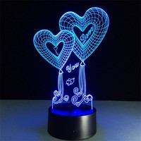 Love Heart 3D Touch Table Lamp