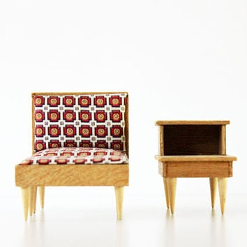A Perfect Setting - Vintage Mid Century Doll Furniture - Dollhouse - Mod - Chair - Ottoman - End Table - Collection - Home Decor - Geometric