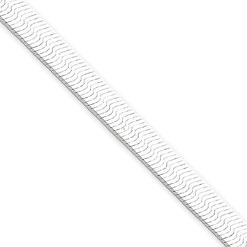 5.25mm, Sterling Silver Solid Herringbone Chain Bracelet, 7 Inch