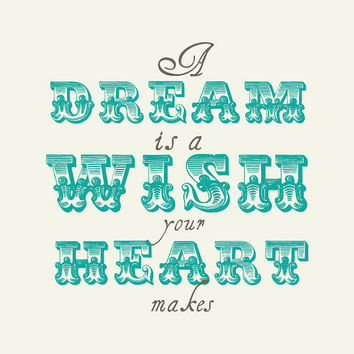 A dream is a WISH your Heart Makes // Boys and Girls Nursery Art  Teal // Unique Baby Gift