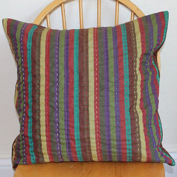 Striped Throw Pillow - Hand Quilted Shot Cotton in Shades of Purple, Green, Red, Brown, and Yellow