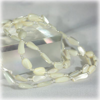 Mother of Pearl Shell Bead Necxklace, Long Necklace, White Long Necklace