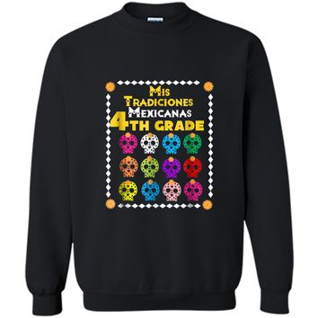Day of the Dead Sugar Skull  for Kids 4th Grade School Printed Crewneck Pullover Sweatshirt