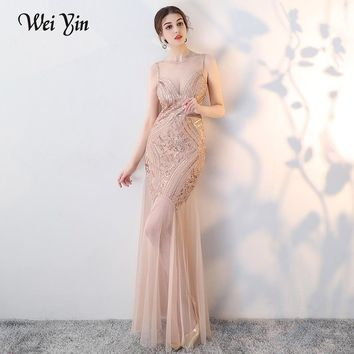 WEIYIN New Sexy Backless Long Prom Dresses Robe De Soiree Longue Beading Satin Mermaid Imported Party Dress Formal Slit Evening