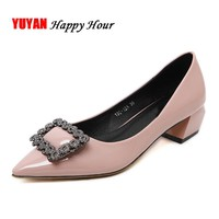 New 2017 Patent Leather Shoes Women Thick Middle Heel Shoes Fashion Women's Pumps Fashion Luxury Brand Ladies Sexy Heels ZH645