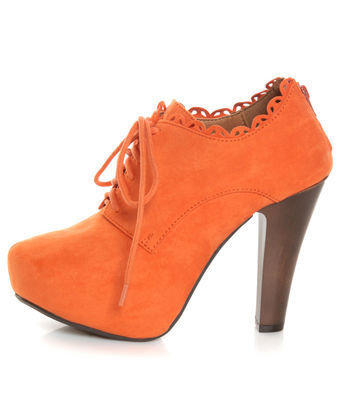 Qupid Puffin 34 Orange Suede Lace-Up Ankle Booties - $42.00