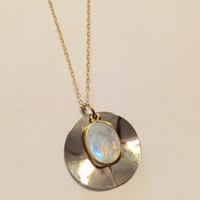 Two Tone Gemstone Necklace-Moonstone or Sea Blue Chalcedony