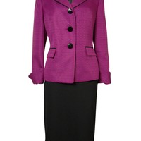 Le Suit Women's Woven Black Trim Vienna Skirt Suit