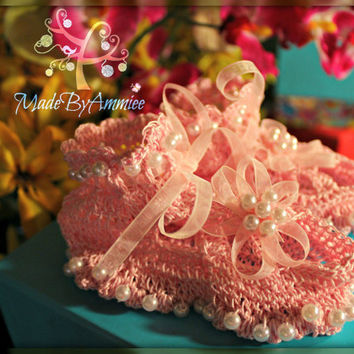 Crochet Infant Baby Lace Shoes, Crochet Christening Lace Shoes, Baptism/Dedication shoes, Crochet Infant Beaded Shoes