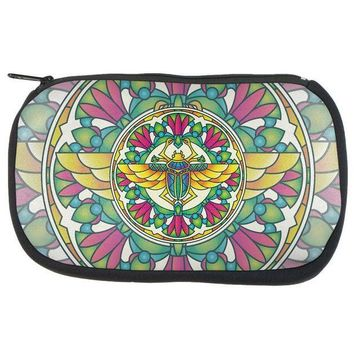 CREYCY8 Mandala Trippy Stained Glass Scarab Makeup Bag
