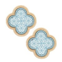 Clover Cut Out Earring Studs- Blue and Gold