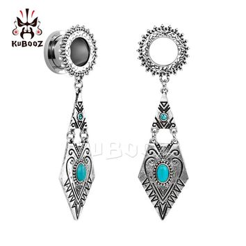 Kubooz piercing NEW arrival stainless steel crystal dangle ear plugs body jewelry tunnels pair selling 2pcs/lot
