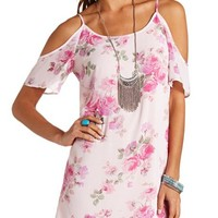 TIE-BACK FLORAL CHIFFON SHIFT DRESS