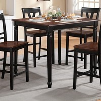 5 pc Viola IV collection black finish wood legs and cherry finish wood tops counter height dining table set with wood top seats