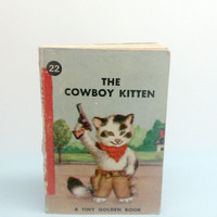 1949 The Cowboy Kitten Tiny Golden Book RARE by VintageWoods