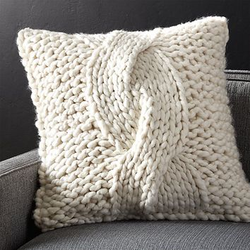 "Cozy Knit Ivory 23"" Pillow with Feather-Down Insert"