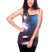 Cosmic Galaxy Shirt Colorful Nebula Universe Tank Top Women Shirts Black Shirt Tunic Top Vest Sleeveless Women T-Shirt Size S M