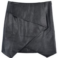 Black Pu Asymmetric Hem Skirt - Choies.com