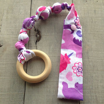 Once Upon a Tula snap teether, Unicorn Tula teether, teething ring, fabric teether, car seat teething toy, wood teething ring