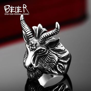 Vintage Punk Goat Head Ring Stainless Steel Big Goat Head Ring Unique Biker Punk Jewelry  BR8-182