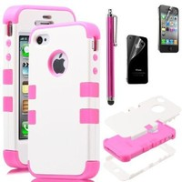 Pandamimi ULAK White Hybrid High Impact Case Cover / Pink Silicone for iPhone 4 4S + Screen protector + stylus