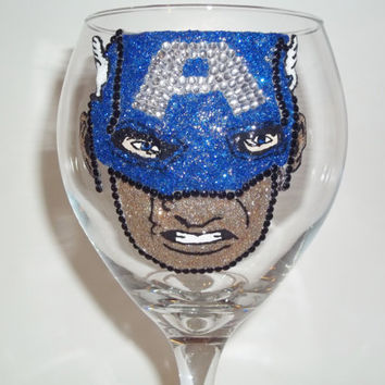 Captain America Rhinestone Wine Glass (his face)