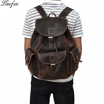 Crazy Horse Leather Backpacks Men Women Laptop genuine leather Rucksack Daypack Cow leather school bag Travel rope closure