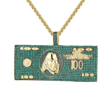 Custom Green 100 Dollar Bill Note Iced Out Money Pendant Chain