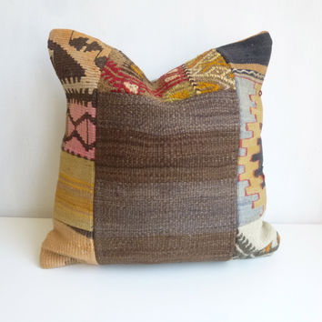 Natural Brown Patchwork Kilim Pillow Cover